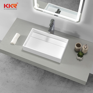 White Rectangle Acrylic Solid Surface Above Counter Basin