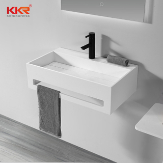 White Bathroom Sink Stone Washbasins With Towel Rail